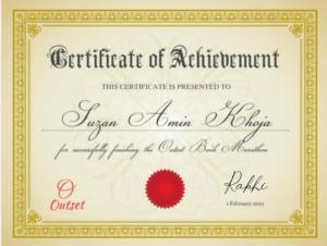 Outset Book Marathon Certificate